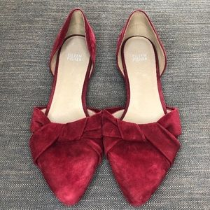 Eileen Fisher d'Orsay red suede bow flats